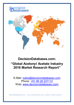 Acetonyl Acetate Market International Analysis and Forecasts 2020
