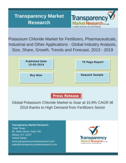 Potassium Chloride Market to Exhibit Growth a 10.8% CAGR from 2013-2019