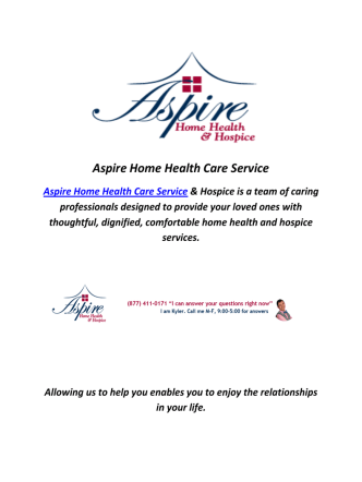 Aspire Home Health Care Services In Taylorsville, UT