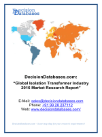 Global Isolation Transformer Industry 2016 Market Research Report
