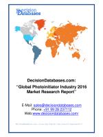 Photoinitiator Market International Analysis and Forecasts 2020