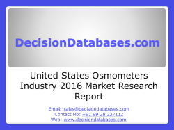 United States Osmometers Industry- Size, Share and Market Forecasts 2020