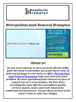 Metropolitan Junk Removal in Brampton, ON