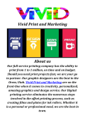 Vivid Print and Marketing: Digital Printing Company