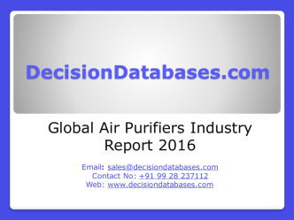 Air Purifiers Market International Analysis and Forecasts 2021