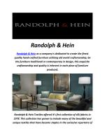 Randolph & Hein : Designer Furniture In Los Angeles