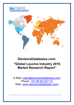 Leucine Market Research Report: Global Analysis 2016-2021