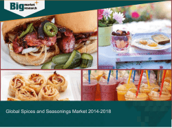Spices and Seasonings- Global Market Trends and Demands 2014-2018