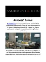 Randolph & Hein : Handmade Furniture Store In Los Angeles