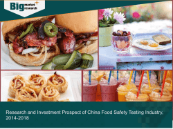 China Food Safety Testing Industry, Research and Investment Prospect from 2014-2018