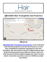 Affordable Artas Hair Restoration San Francisco, CA