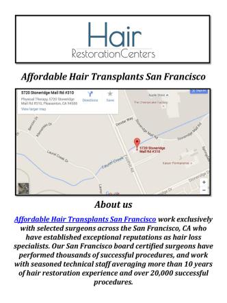 Affordable Artas Hair Restoration San Francisco, CA