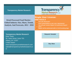 Dried Processed Food Market - Global Industry Size,  Analysis, Forecast up to 2018