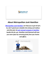 Metropolitan Junk Removal in Hamilton, ON