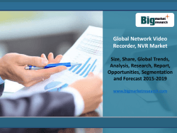 Network Video Recorder Market Report Is All Set To Grow To New Heights During Forecast 2016-2020