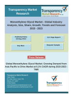 Monoethylene Glycol Market:  Growing Demand from Asia Pacific to Drive Market at 6.1% CAGR ,2015-23