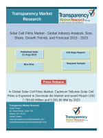 Solar Cell Films Market Segment Forecasts up to 2023, Research Reports:Transparency Market Research