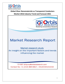 Worldwide Silver Nanomaterials as Transparent Conductors Market Analysis & 2021 Forecast Report