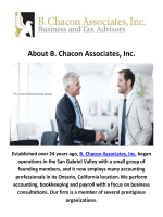 B. Chacon Associates, Inc. Accounting Firms in Ontario