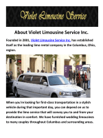 Violet Stretch Limousines Service in Columbus, OH