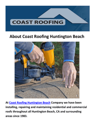 Coast Roofing Contractor Huntington Beach