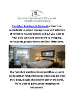 Furnished Apartments Service In Cincinnati, Ohio