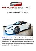 Elite Exotic Car Rental - Rent a Ferrari Las Vegas