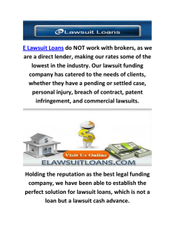 E Lawsuit Loans Funding Company In Millburn, NJ