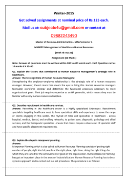 MH0057-Management of Healthcare Human Resources