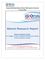 Europe Solid State Battery Market 2016-2021 Trends & Forecast Report
