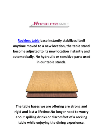 Buy Self Leveling Tables At Rockless Table