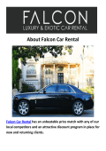 Falcon Rolls Royce And Ferrari Car Rental LA