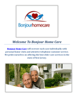 Bonjour Senior Home Care  Personal Care in New Jersey