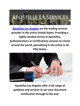Apostillas Services in Los Angeles, CA