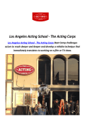Los Angeles Acting Coaches - The Acting School