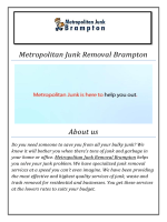Metropolitan Junk Removal Brampton ( 289-801-9221 )
