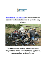 Metropolitan Junk Removal in Toronto, ON