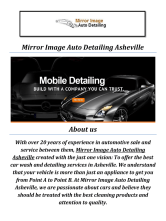 Auto Detailing In Asheville, NC At Mirror Image Auto Detailing Asheville