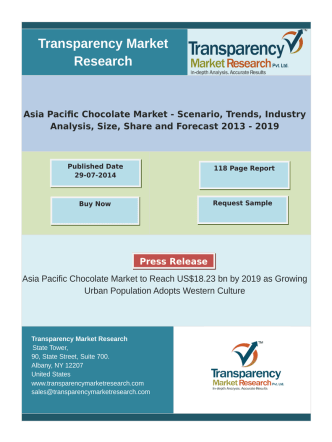 Asia Pacific Chocolate Market to Reach US$18.23 bn by 2019 as Growing Urban Population Adopts Western Culture