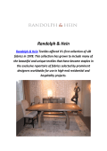 Randolph & Hein : Handmade Furniture In Los Angeles, CA