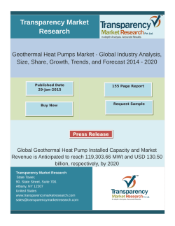 Geothermal Heat Pumps Market Research 2014 - 2020