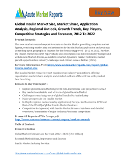 Global Insulin Market 2016 to 2022 Size,Share,Growth, Trends and Forecast,By Acute Market Reports