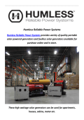 Humless Reliable Power Systems & Fuelless Generators In Utah