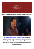Acting Coaches Los Angeles | Acting School - The Acting Corps