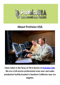 ProVoice USA : Voice Over Services