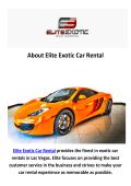 Elite Exotic Luxury Car Rentals Las Vegas