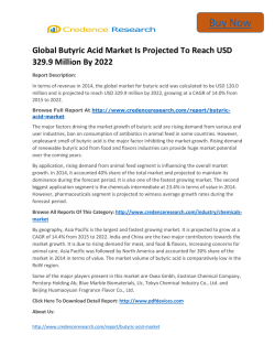 Global Butyric Acid Market to 2022 - Global Industry analysis,Growth and Forecast,- Credence Research