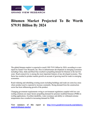 Bitumen Market To Represent USD 79.11 Billion Opportunity Globally by 2024:  Grand View Research, Inc.
