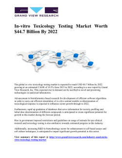 In-vitro Toxicology Testing Market Hits $44.7 Billion By 2022: Grand View Research, Inc.