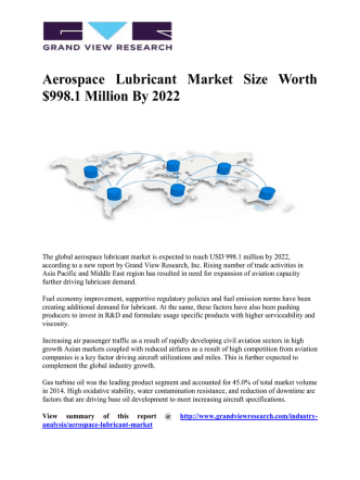 Aerospace Lubricant Market Forecast Worth $998.1 Million By 2022: Grand View Research, Inc.